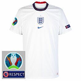 20-21 England Vapor Match Home Shirt + Official Euro 2020 Patches