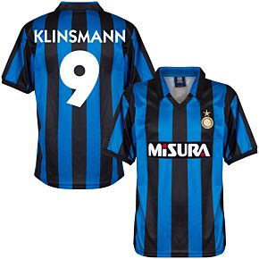 1990 Inter Milan Home Retro Shirt + Klinsmann 9 (Retro Flock Printing)
