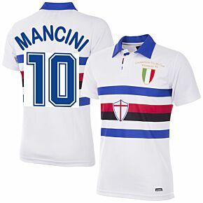 91-92 Sampdoria Away Retro Shirt + Mancini 10 (Retro Flex Printing)