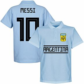 Argentina Team Messi 10 Polo Shirt - Sky