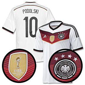 Germany Home 4 Star Podolski Boys Jersey 2014 / 2015 + World Cup Champions Patch