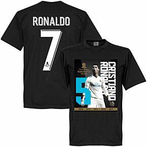 Ronaldo 5x Ballon d'Or Winner Ronaldo 7 Tee - Black