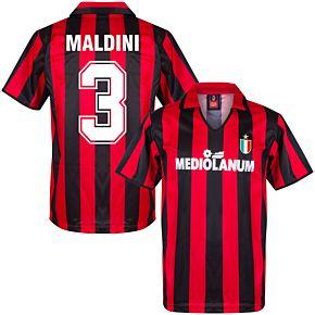1988 AC Milan Home Retro Shirt + Maldini 3 (Retro Flock Printing)