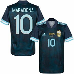 20-21 Argentina Away Shirt + Maradona 10 (Official Printing) + D10S Transfer