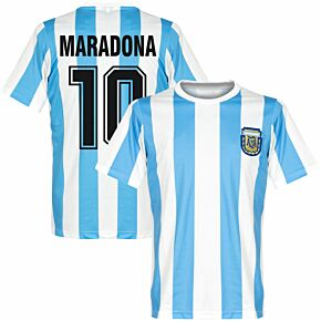 1986 Argentina Home Retro Shirt + Maradona 10