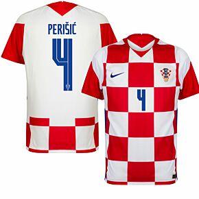 20-21 Croatia Home Shirt + Perišić 4 (Official Printing)