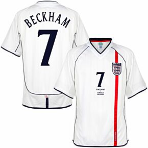 2002 England Home Retro Shirt +  Beckham 7 v Greece Edition (Retro Flock Printing)
