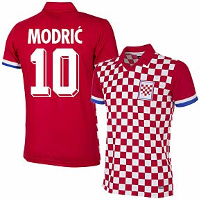 1992 Croatia Home Retro Shirt + Modrić 10 (Retro Flock Printing)