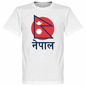 Nepal Flag Tee 2 - White