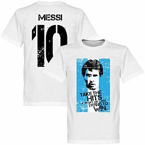 Messi 10 Argentina Flag Tee - White