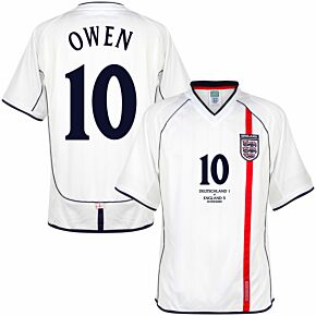 2002 England Home Retro Shirt + Owen 10 v Germany Edition (Retro Flock Printing)
