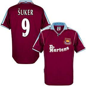 2000 West Ham Utd Home Retro Shirt + Suker 9 (Retro Flex Printing)