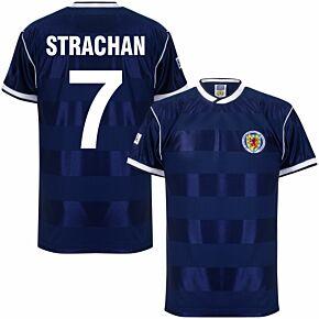 1986 Scotland Home Retro Shirt + Strachan 7 (Retro Flock Printing)