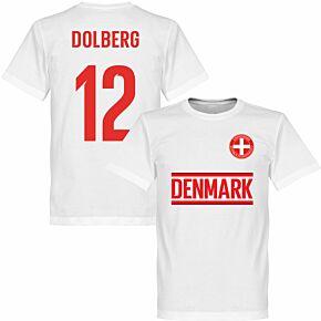 Denmark Dolberg 12 Team KIDS T-shirt - White