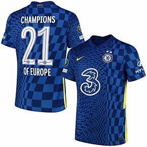 21-22 Chelsea Home Shirt + Champions of Europe 21 Printing Bundle