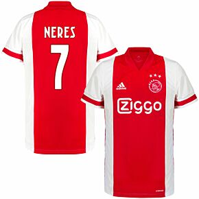 20-21 Ajax Home Shirt + Neres 7 (Fan Style Printing)