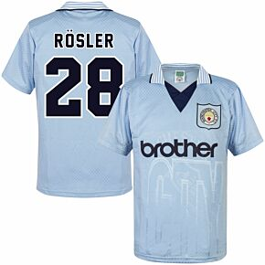 1996 Man City Home Retro Shirt + Rosler 28 (Retro Flex Printing)