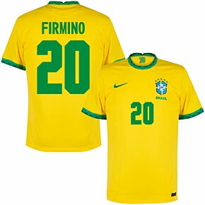 20-21 Brazil Home Shirt + Firmino 20 (Fan Style)