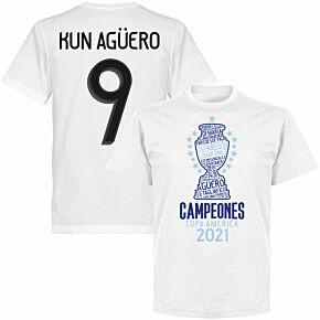 Argentina 2020 Copa America Champions Kun Agüero 9 T-shirt - White