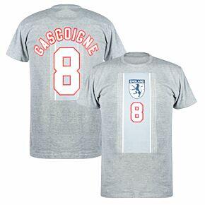 England Euro 96 Away Gascoigne 8 KIDS T-shirt - Grey Marl