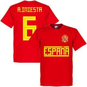 Spain A. Iniesta 6 Team Tee - Red