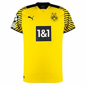 21-22 Borussia Dortmund Home Shirt + UCL Starball + UEFA Foundation Patches