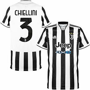 21-22 Juventus Home Shirt + Chiellini 3 (Official Printing)