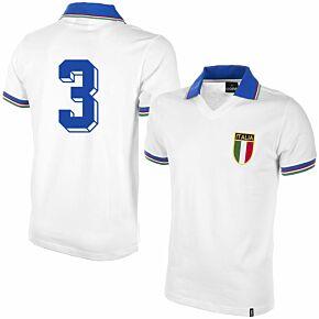 1982 Italy Away Shirt + No.3 (Retro Flock Printing)