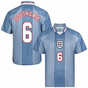 1996 England Euro 96 Away Retro Shirt + Southgate 6 (Retro Flex Printing)