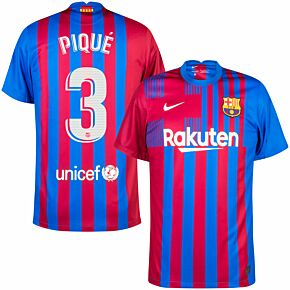 21-22 Barcelona Home Shirt + Piqué 3 (Official Printing)
