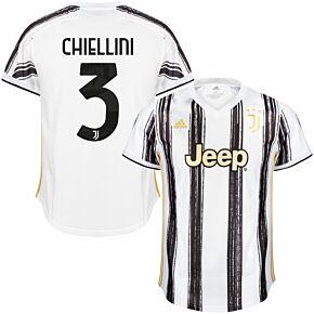 20-21 Juventus Home Shirt + Chiellini 3 (Official Printing)