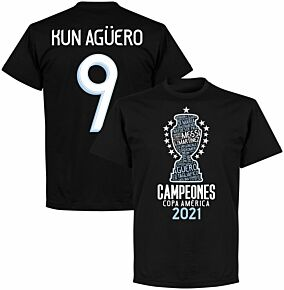 Argentina 2020 Copa America Champions Kun Agüero 9 T-shirt - Black