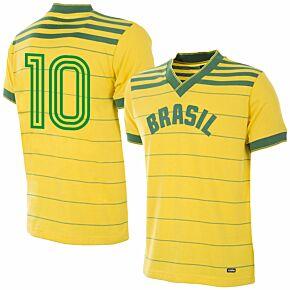 1984 Brazil Home Olympics Retro Shirt + No.10 (Retro Flock Printing)