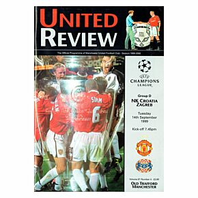 Man Utd vs Croatia Zagreb C/L Group D Match at Old Trafford Program - Sept. 14, 1999