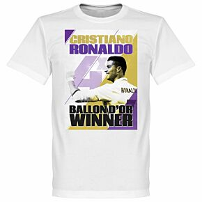 Ronaldo 4 Times Ballon d'Or Winners Madrid Tee - White