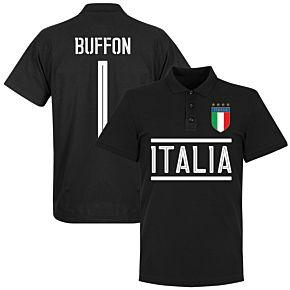 Italy Buffon 1 Team Polo - Black