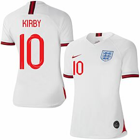 Nike England Womens Home Kirby 10 Jersey 2019-2020 (Fan Style Printing)
