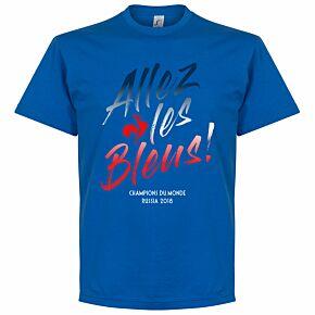 France Allez les Bleus Russia 2018 Winners Tee - Royal