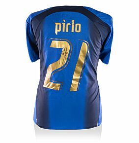 Andrea Pirlo Back Signed Italy 2006 Home Shirt