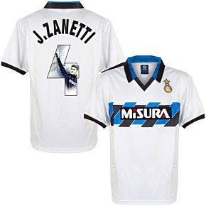 1990 Inter Milan Away Retro Shirt + J.Zanetti 4 (Gallery Style Printing)