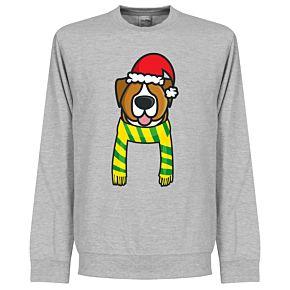 Christmas Dog Supporters Sweatshirt - Grey (Yellow/Green Scarf)