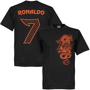 Ronaldo 7 Dragon Tee - Black/Orange