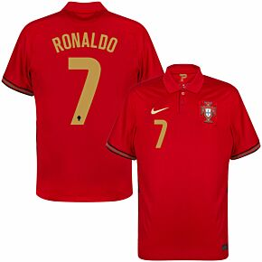 20-21 Portugal Home Shirt - Kids + Ronaldo 7 (Official Printing)