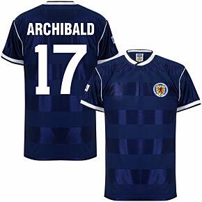 1986 Scotland Home Retro Shirt + Archibald 17 (Retro Flock Printing)