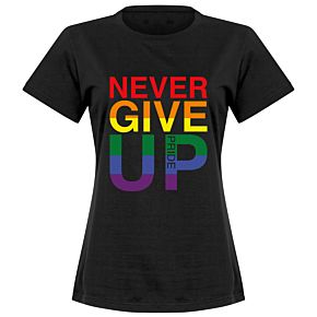 Never Give Up Pride Womens Tee - Black