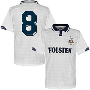1991 Tottenham Home FA Cup Final Retro Shirt + No. 8