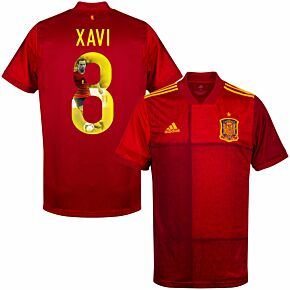 20-21 Spain Home Shirt + Xavi 8 (Gallery Style Printing)