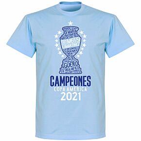 Argentina 2021 Copa America Champions KIDS T-shirt - Sky Blue