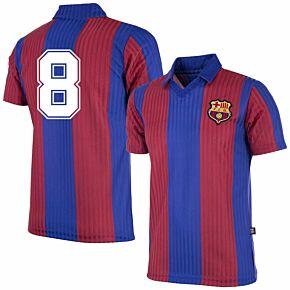 90-91 Barcelona Home Retro Shirt + No.8 (Retro Flock Printing)