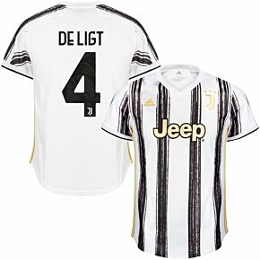 20-21 Juventus Home Shirt + DE LIGT 4 (Official Club Printing)